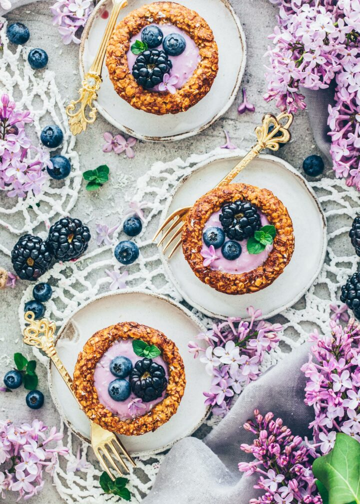 Berry Yogurt Granola Cups with blueberries and blackberries