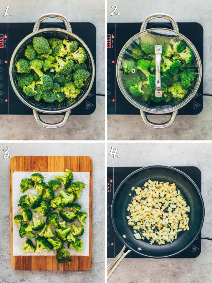 Brokkoli im Dampfgarer garen, Zwiebeln und Knoblauch in einer Pfanne braten