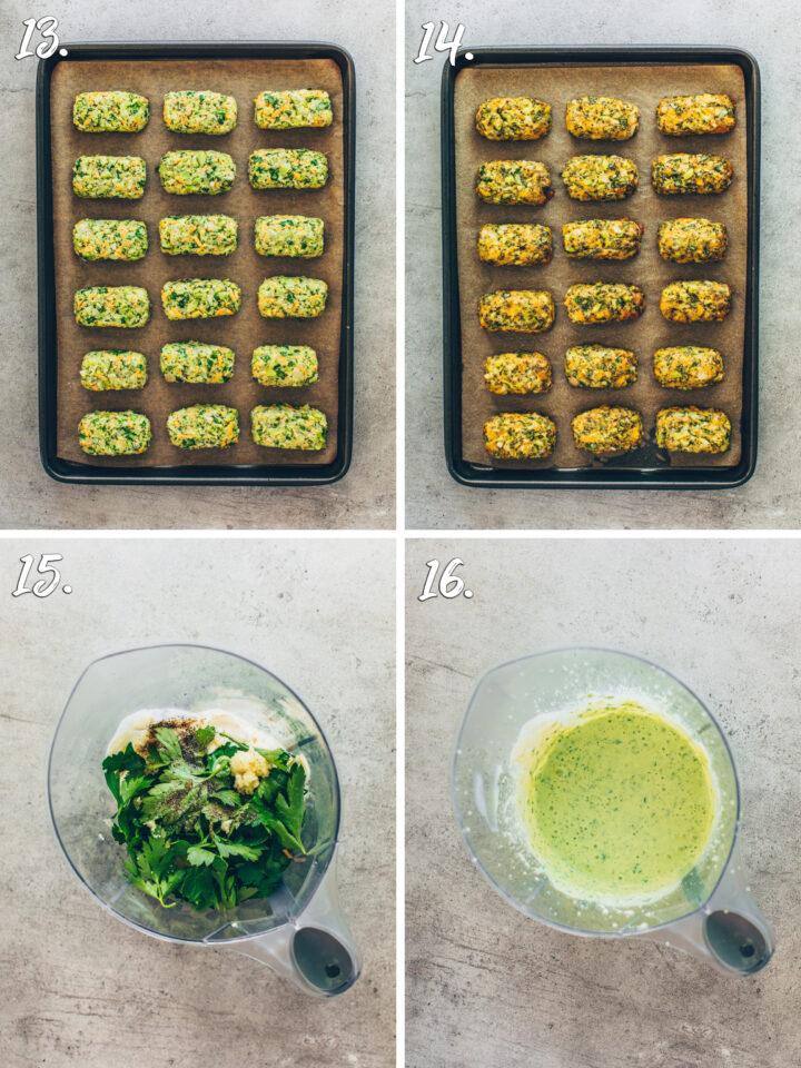Brokkoli-Käse-Nuggets backen und Kräuter-Dip cremig mixen