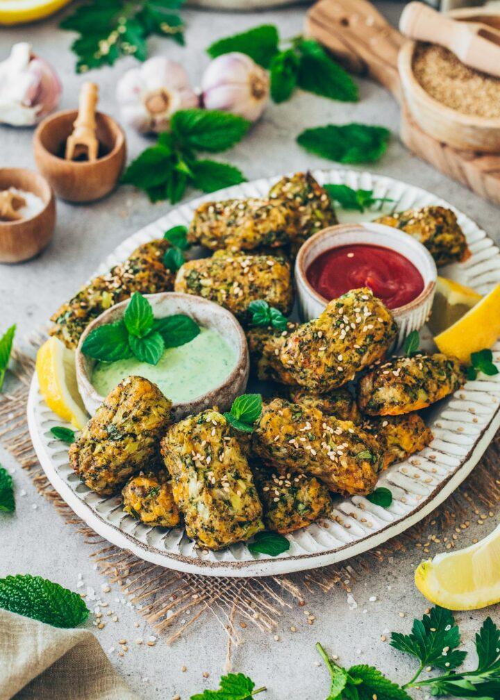 Veggie Nuggets aus Gemüse (low-Carb, gesund, fettarm, vegan)