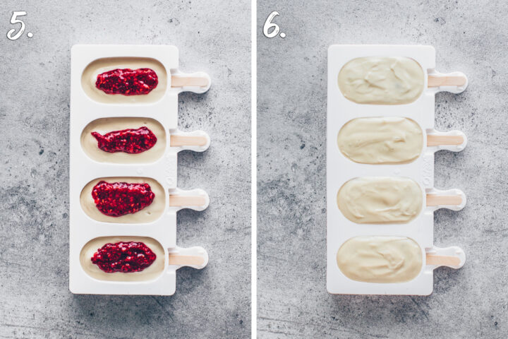 how to make Cashew ice cream popsicles with raspberry filling