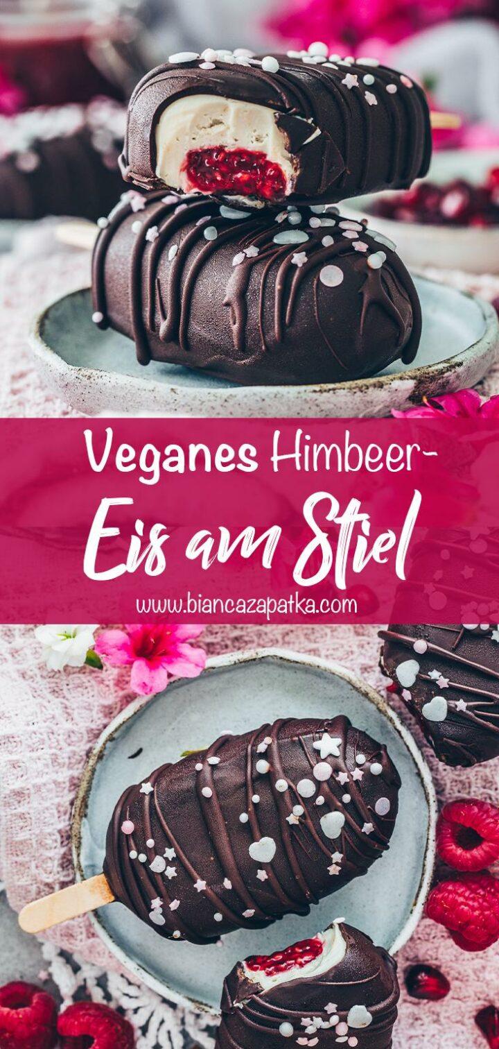 Veganes Eis am Stiel mit Himbeer-Füllung