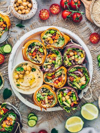 Gemüse-Wraps mit Hummus