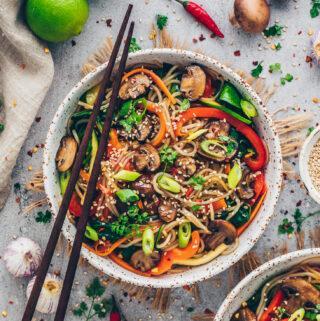Korean Japchae - Glass Noodle Salad with stir-fried vegetables