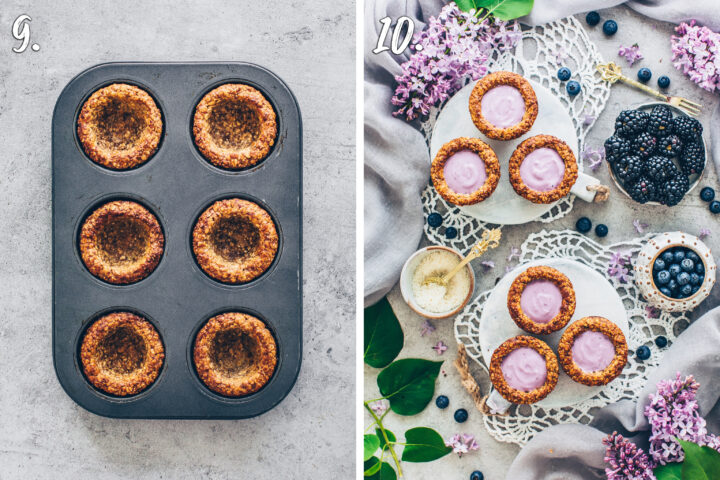 Crunchy Granola Cups in a muffin pan