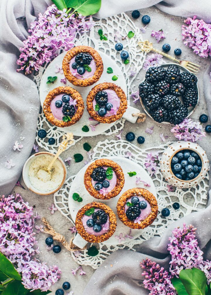 Granola Cups with Blueberry Yogurt, Blueberries and Blackberries (Food Photography)