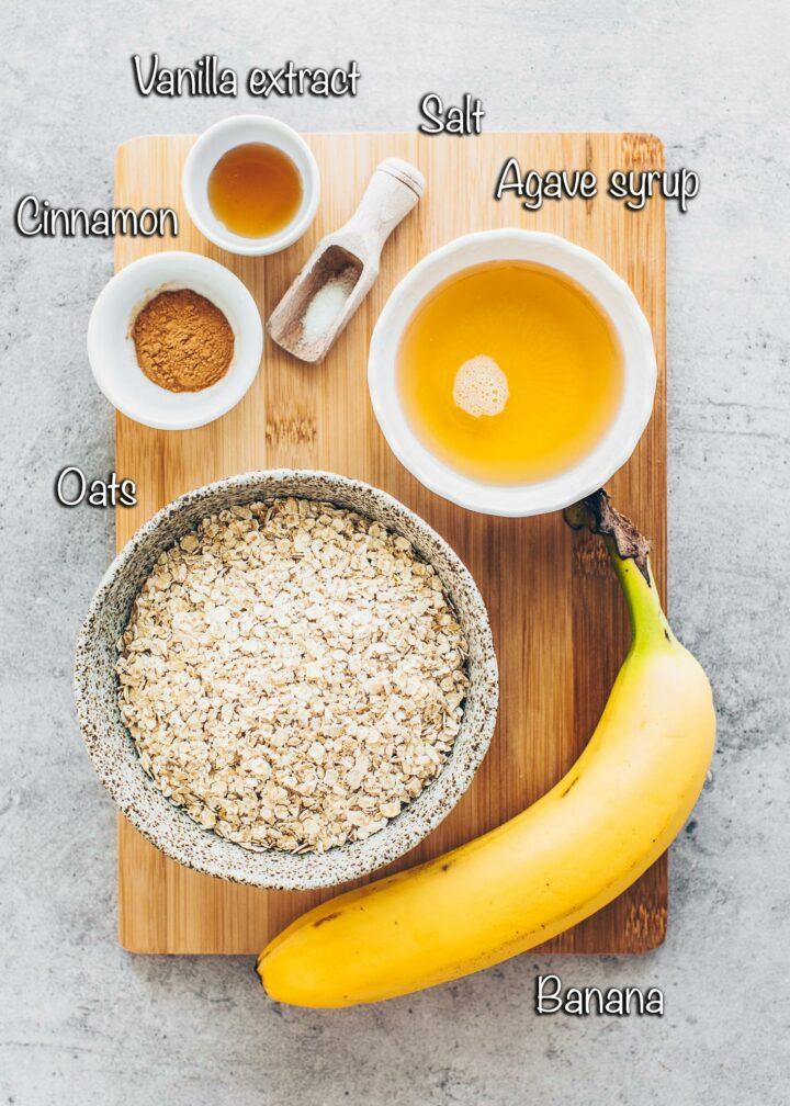 Banana, oats, cinnamon, maple syrup, vanilla (Ingredients for Granola Cups)