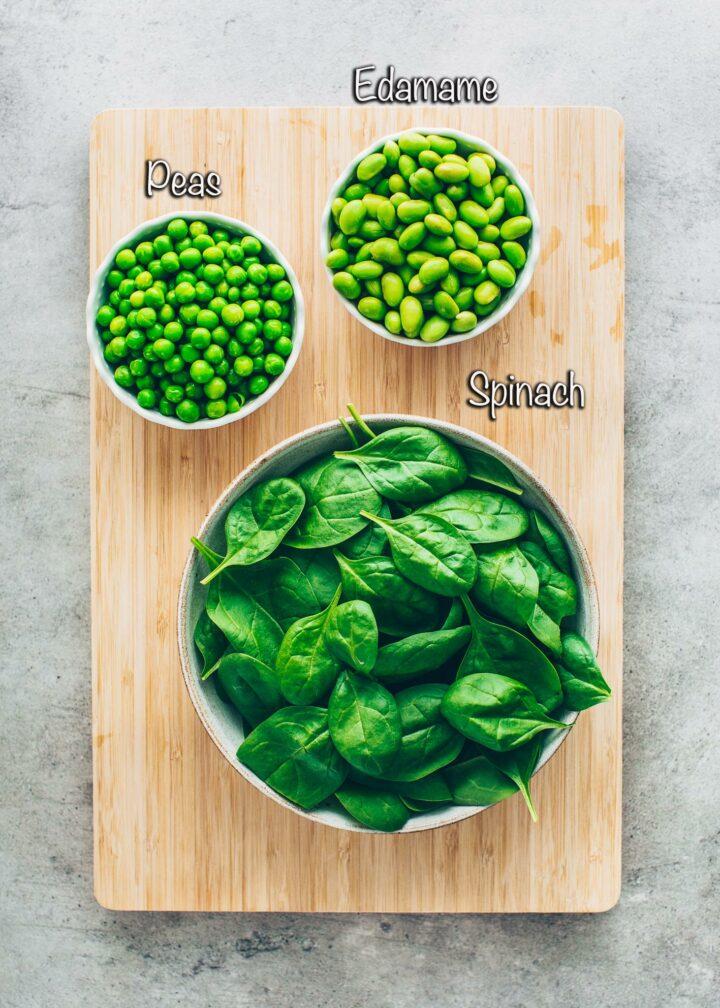 Spinach, peas, edamame