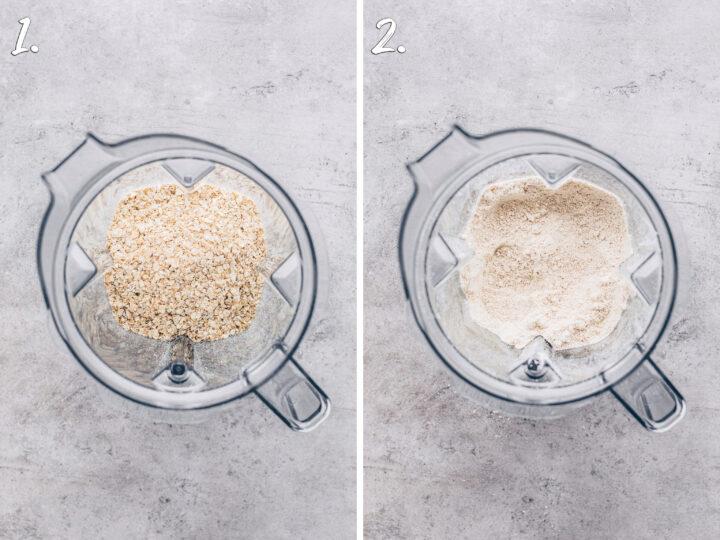 Haferflocken zu Mehl mahlen im Mixer