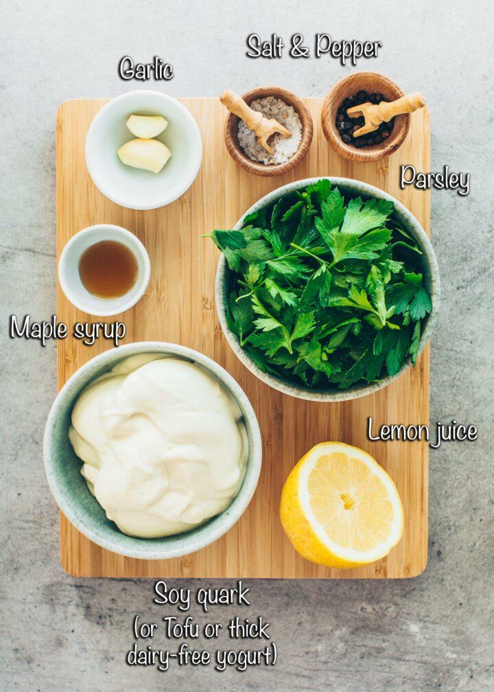 Creamy herb dip ingredients