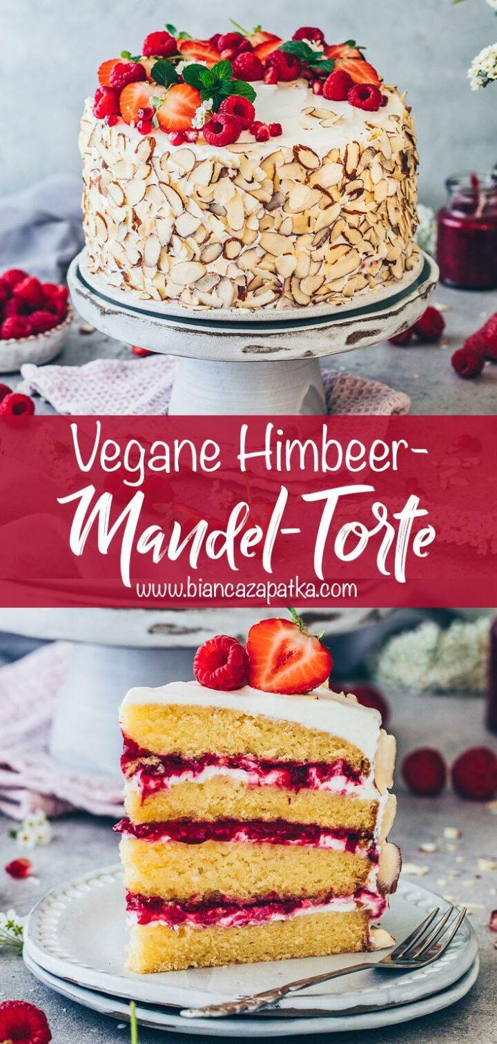 Himbeer-Torte mit Sahne-Creme, Erdbeeren und Mandeln