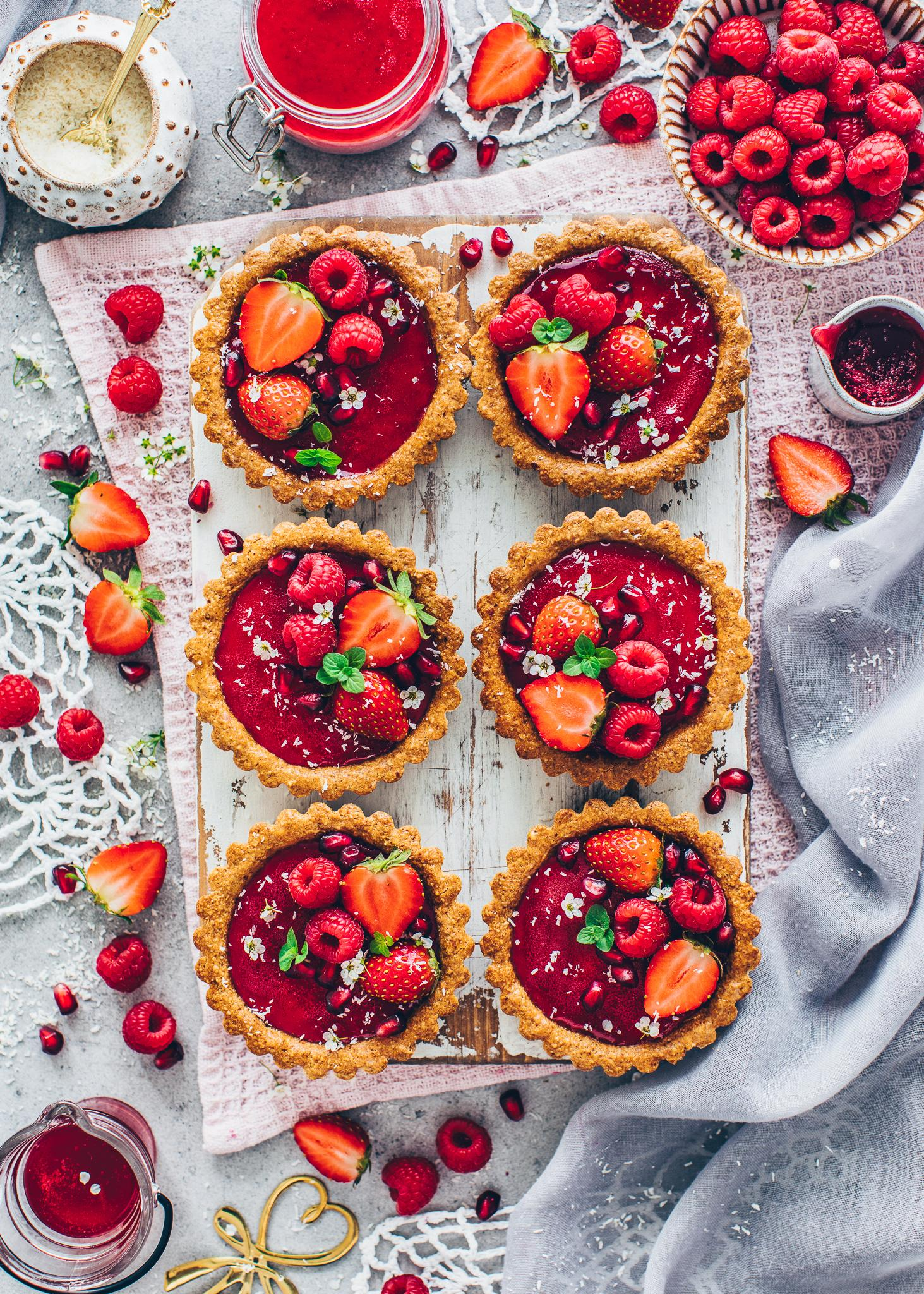 Granola Tarts with Vegan Raspberry Panna Cotta