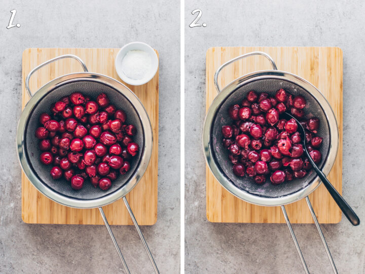 Cherries in a fine-meshed sieve