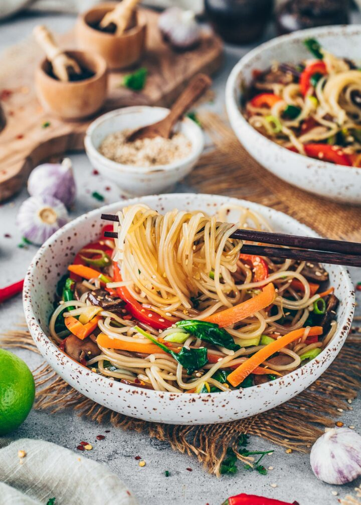 Vegan Japchae with sweet potato glass noodles and vegetables