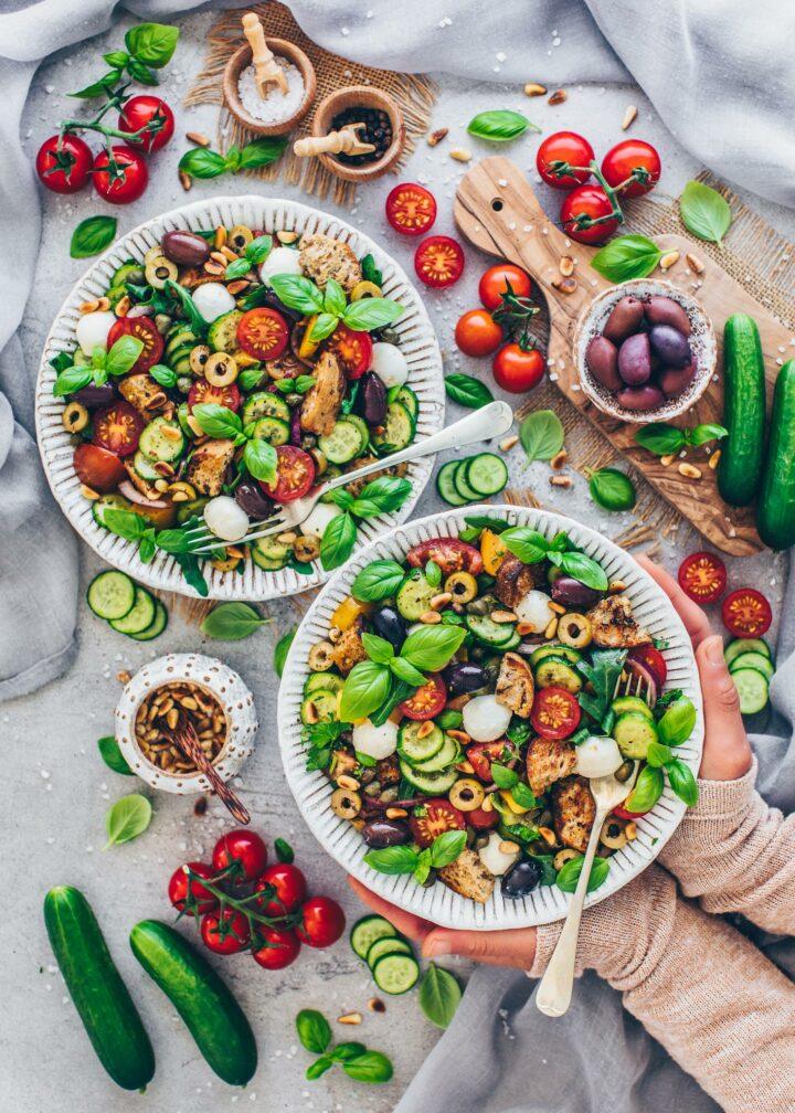 Italian Bread Salad with tomatoes, cucumber, onions, basil, garlic and vinaigrette