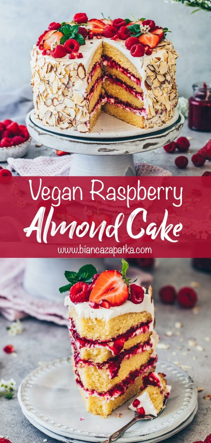 Raspberry Almond Cake with strawberries