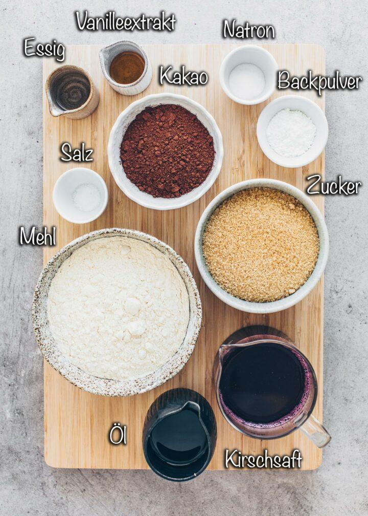 Zutaten für Veganer Schoko Kirsch Kuchen Vegan