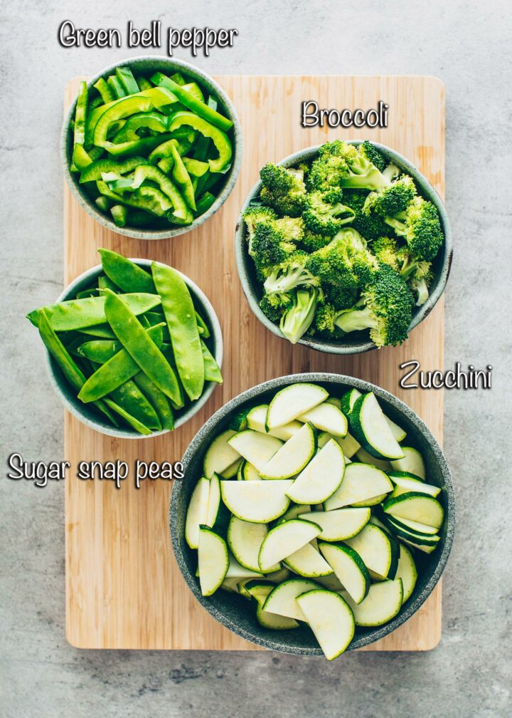 Green Vegetables: green bell peppers, broccoli, zucchini, sugar snap peas