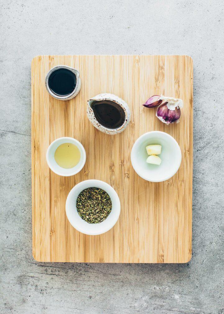 olive oil, balsamic vinegar, garlic, agave syrup, Italian herbs (ingredients for vinaigrette)