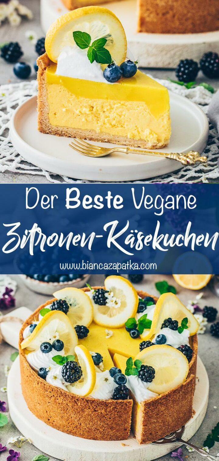 Zitronen-Käsekuchen (Vegan Lemon Cheesecake)