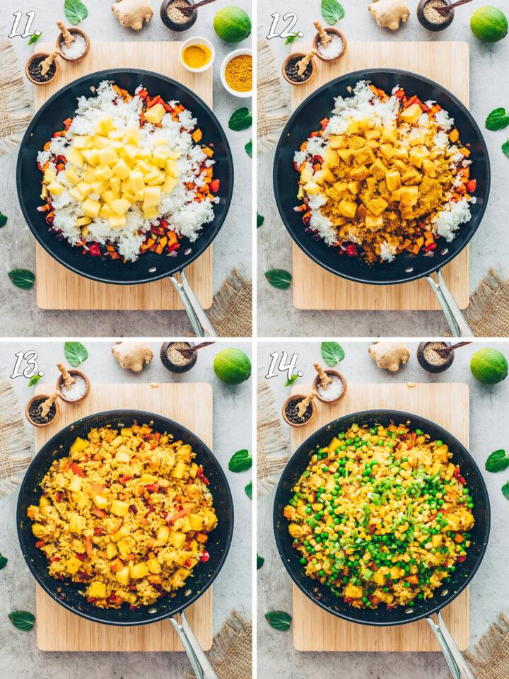 Gemüse-Reis-Pfanne mit Ananas und Curry-Pulver