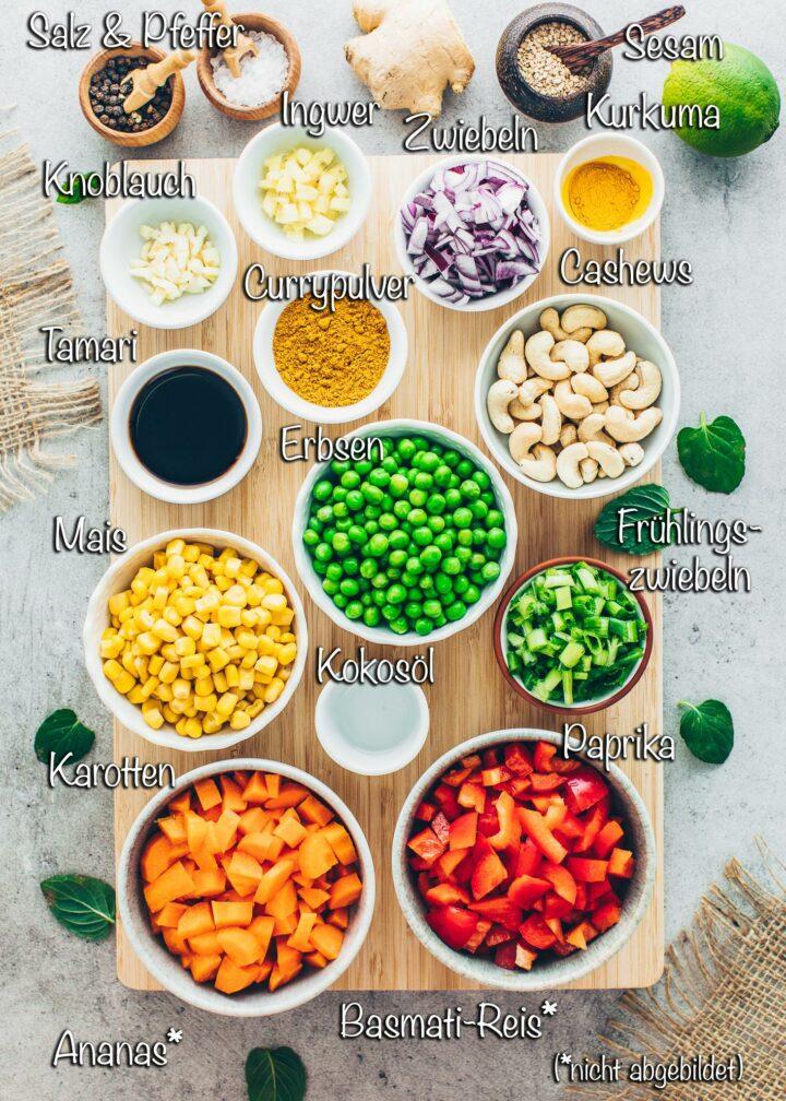 Gebratener Thai Curry Reis Zutaten