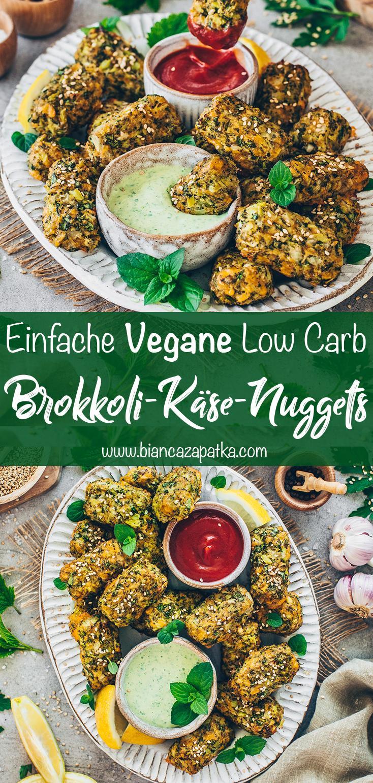 Brokkoli-Käse-Nuggets mit Minz-Dip (vegan, low carb, gesund, einfach)