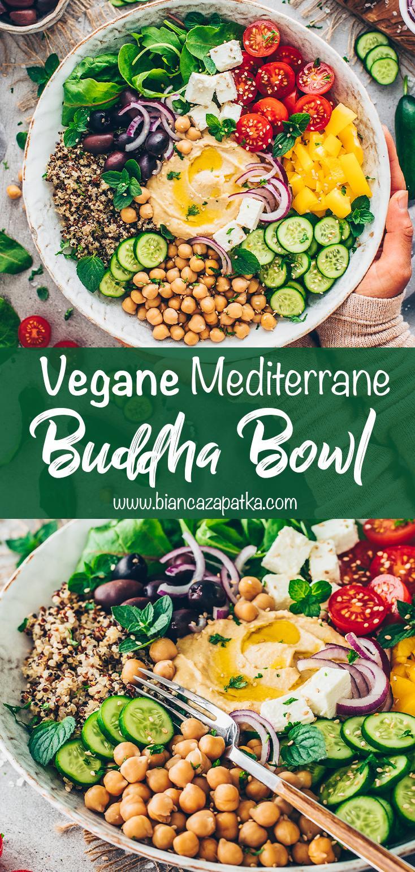Buddha Bowl mit Quinoa, Kichererbsen und Hummus