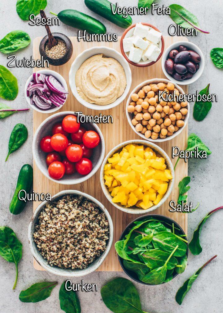 Buddha Bowl Zutaten: Quinoa, Tomaten, Salat, Paprika, Gurken, Oliven, Kichererbsen, Zwiebeln, Feta, Hummus