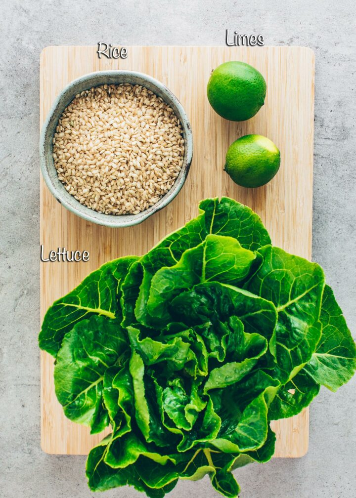 rice, lettuce, limes