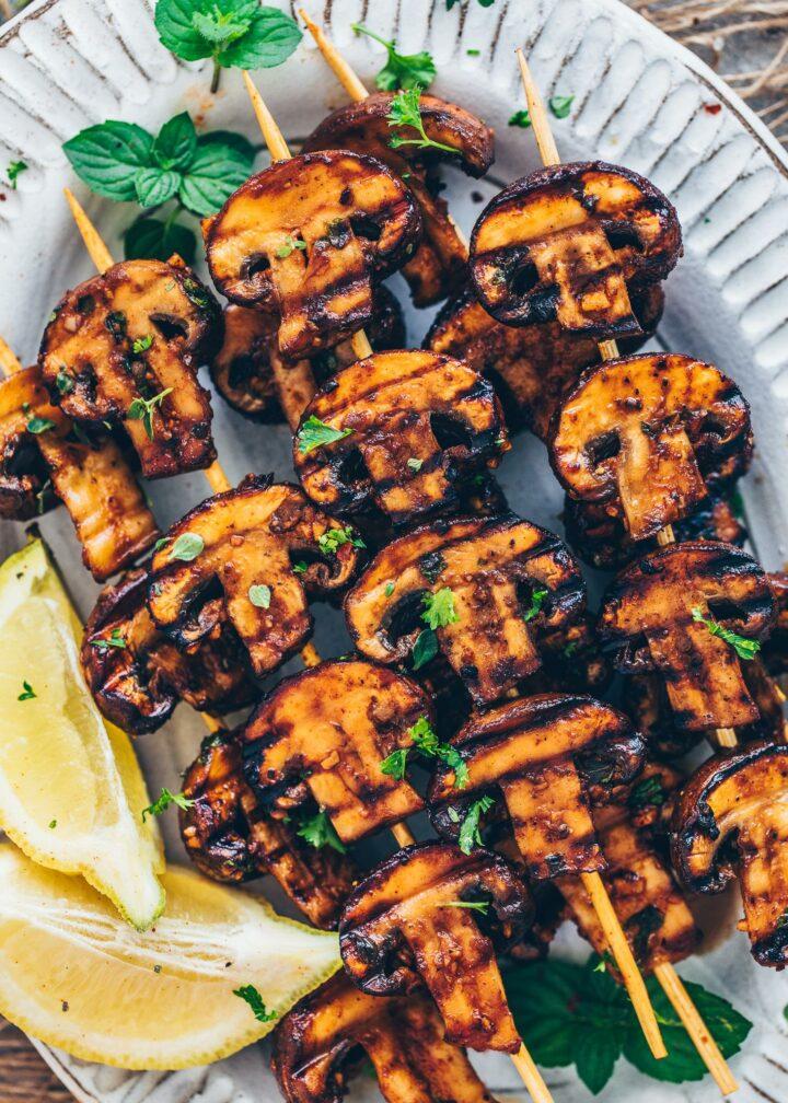 Grilled Garlic Mushroom Skewers
