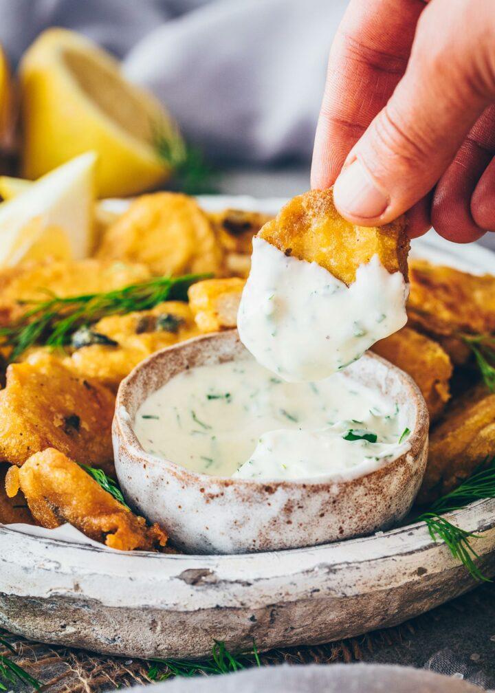 Tofu Fisch Nuggets mit Dill-Dip