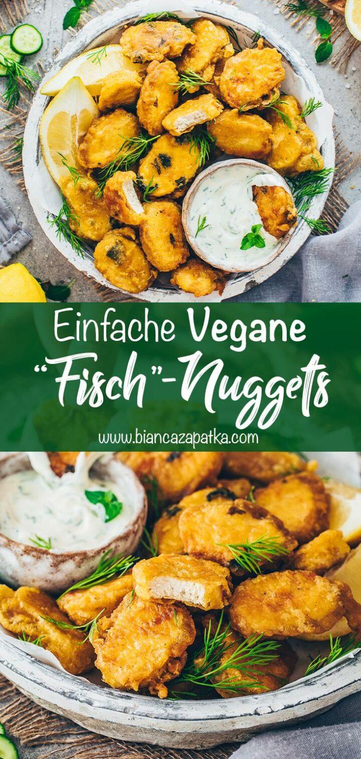 Vegane Fisch-Nuggets im Bierteig mit Dill-Dip