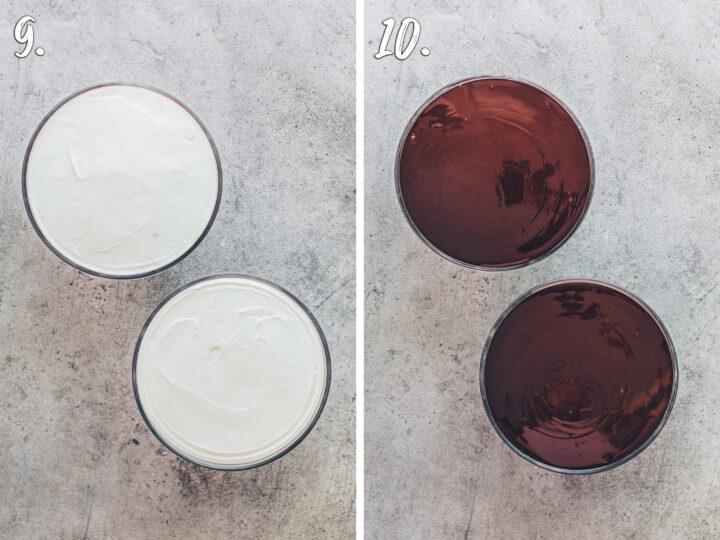 Kuchen-Bowl mit Quark-Creme und Schokoladen-Glasur
