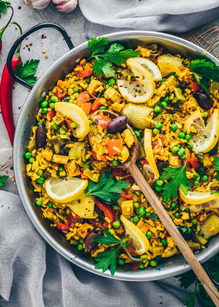 Paella mit Gemüse | Spanische Reispfanne