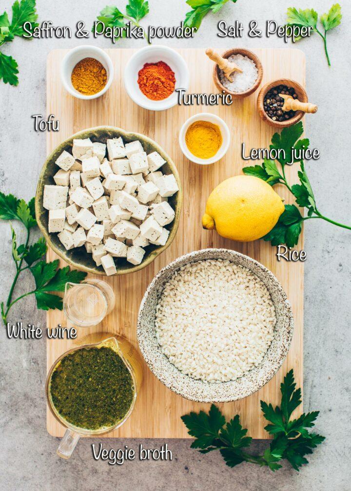 Tofu Paella ingredients