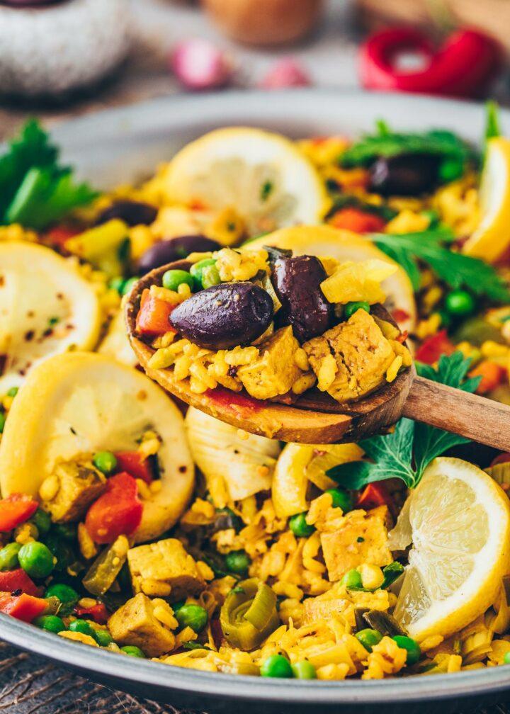Paella Reispfanne mit Tofu (gesund, lecker, einfach)