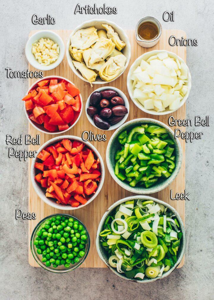 Vegetable Paella ingredients
