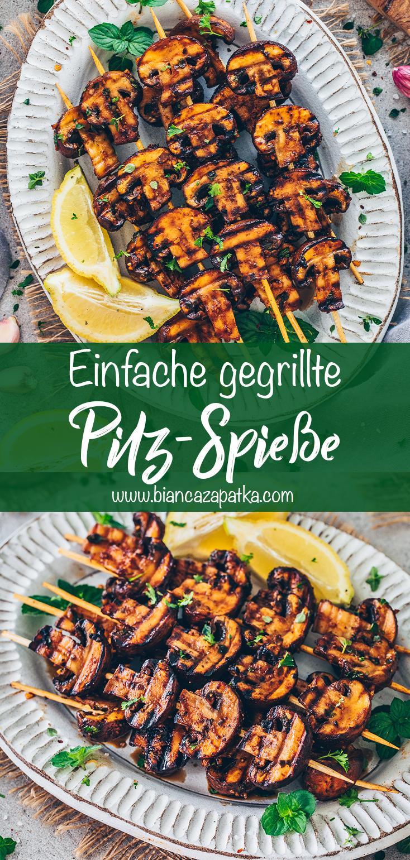 Champignon-Spiesse vom Grill (gegrillte Knoblauch-Pilze)