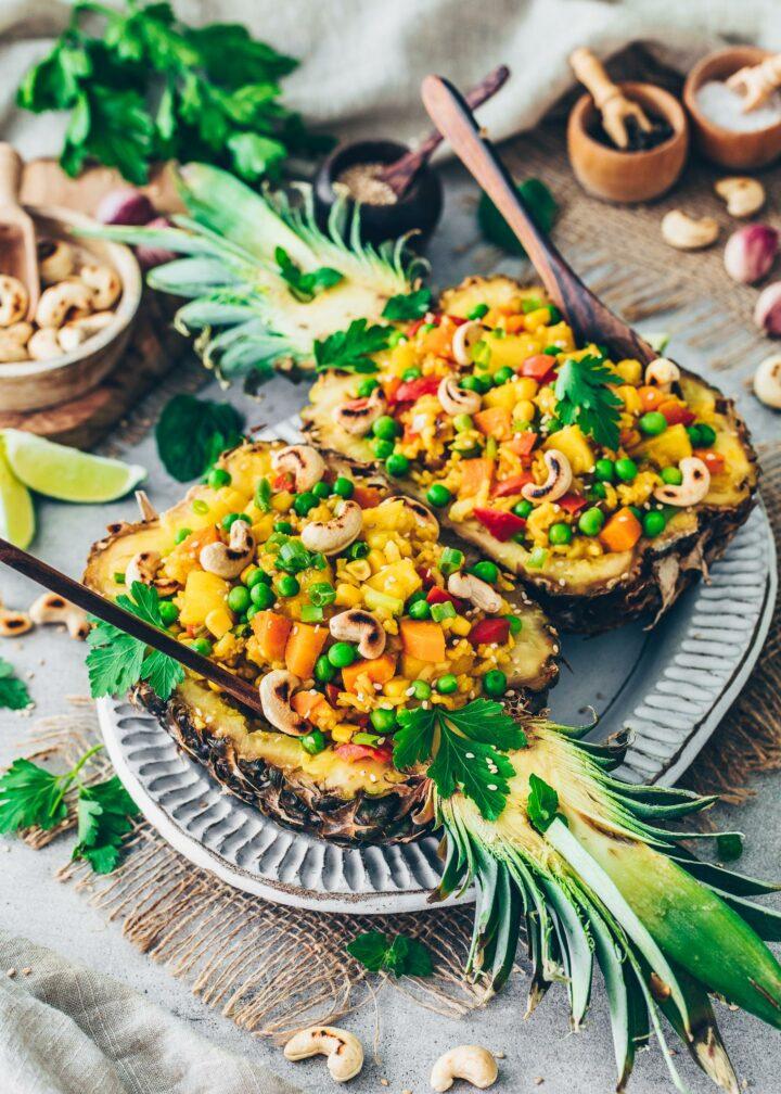 Ananas Reispfanne (einfach, vegan, lecker)