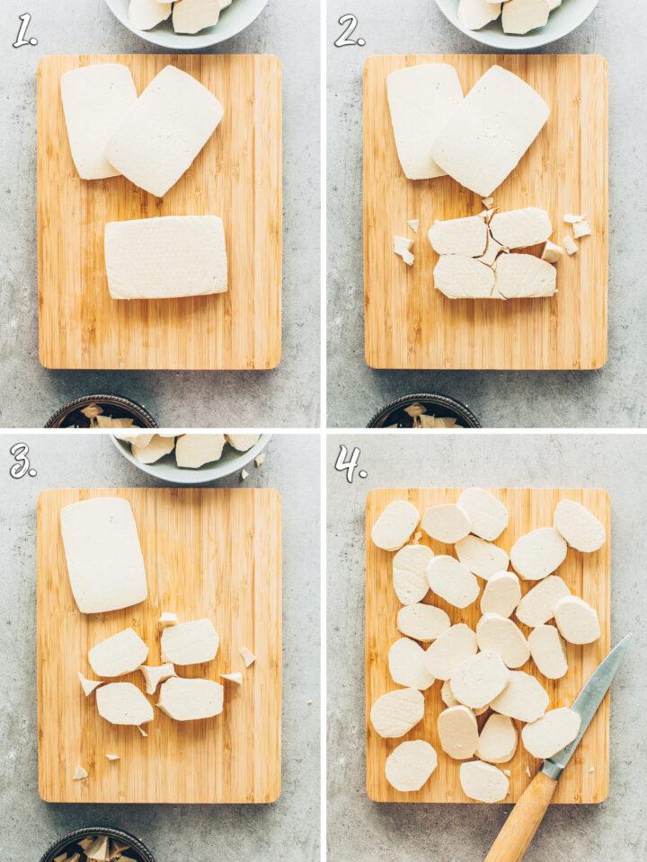 Cut Tofu into Nuggets (How to make vegan fish)