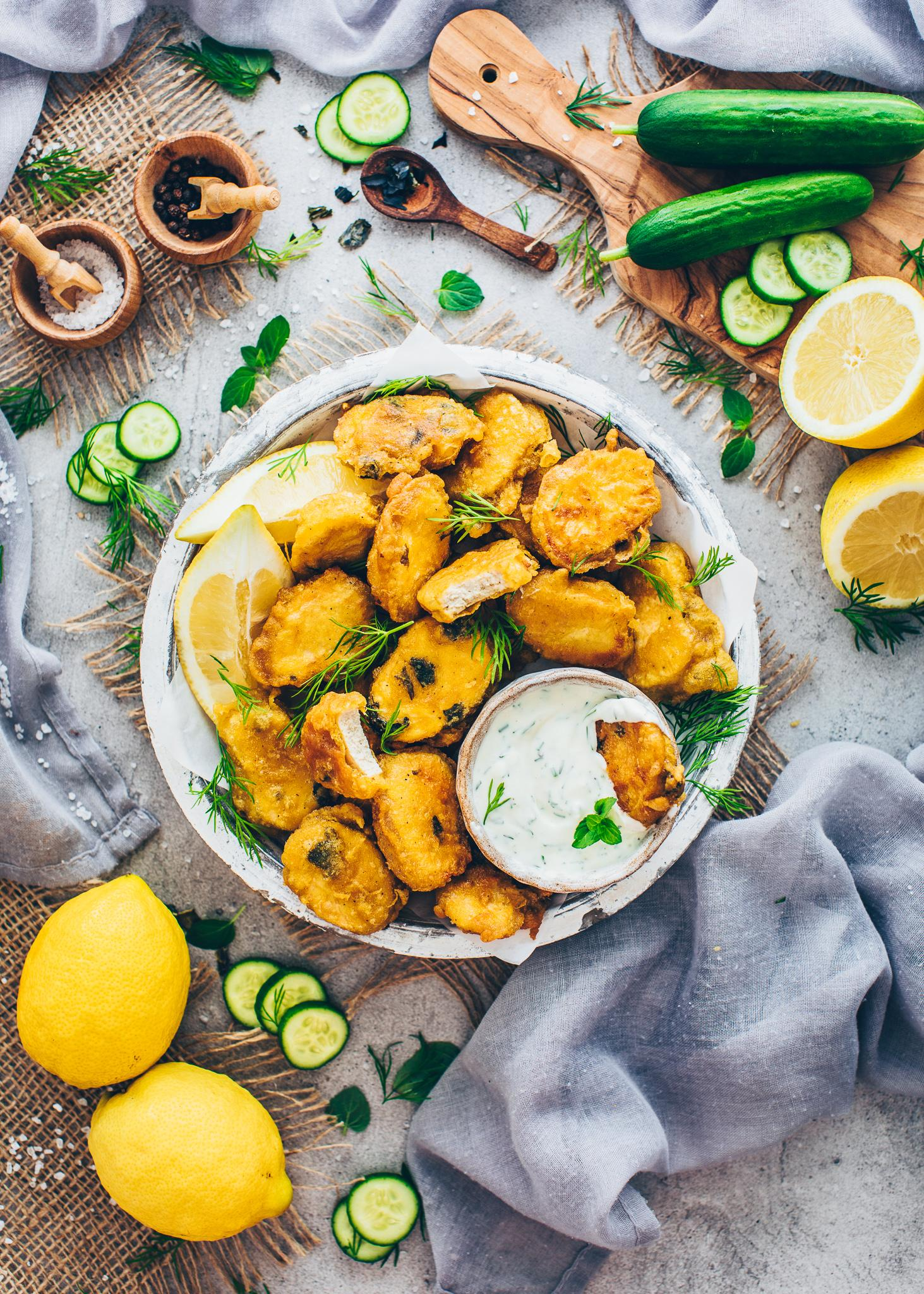 Crispy Vegan Fish Nuggets with Dill Dip