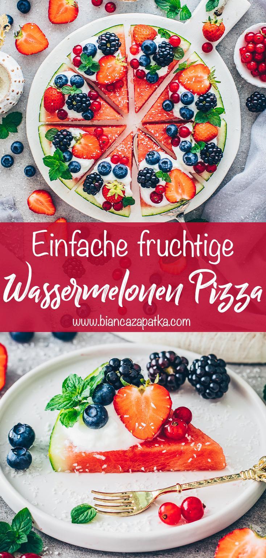 Wassermelonen-Pizza mit Joghurt, Erdbeeren, Blaubeeren, Brombeeren, Johannisbeeren, Minze und Kokos