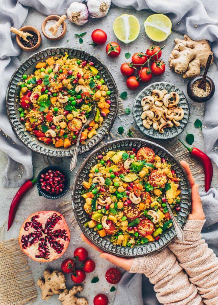 Quinoa-Gemüse-Pfanne mit Kichererbsen (Orientalisches Rezept)