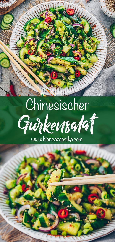 Chinesischer Gurkensalat mit Asia süß-sauer Dressing