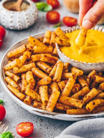 Pasta Chips with Vegan Cheese Dip