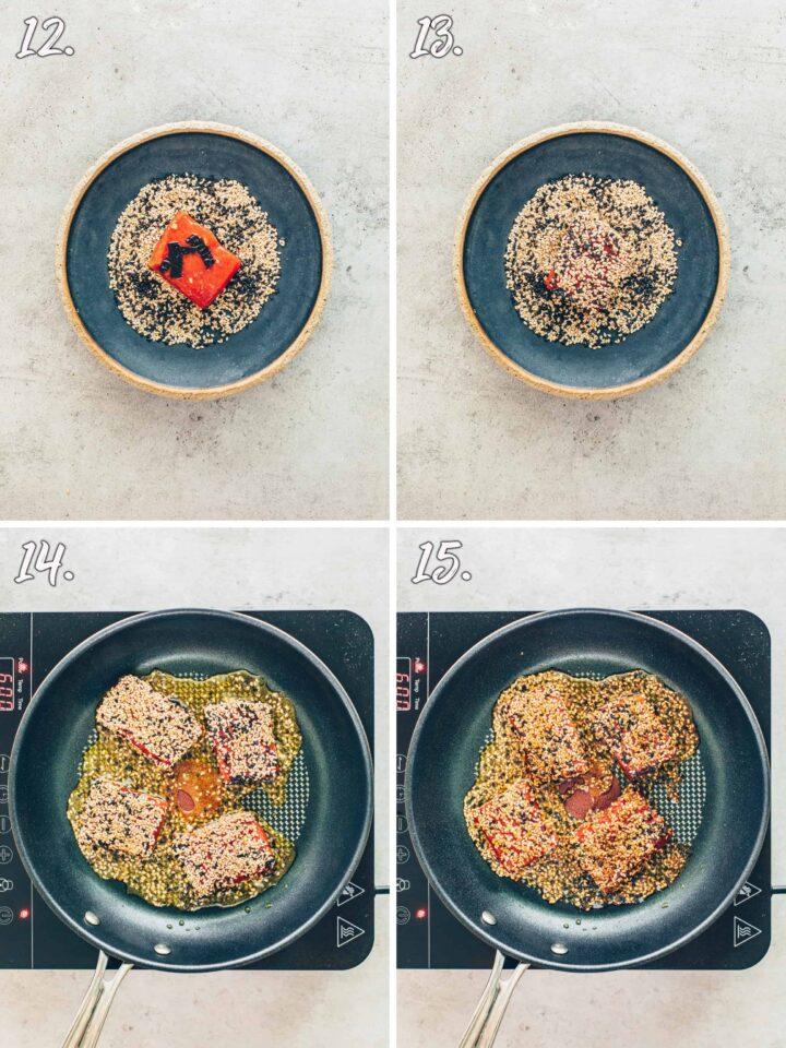 Crispy vegan tuna steaks with sesame crust
