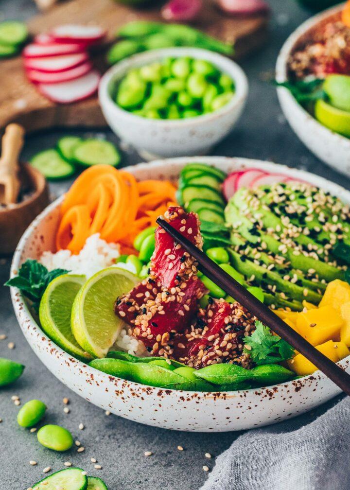 Watermelon Tuna Steaks in Sesame Crust in a bowl of veggies