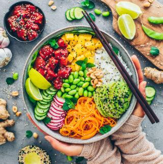 Vegan Watermelon Tuna Poke Sushi Bowl