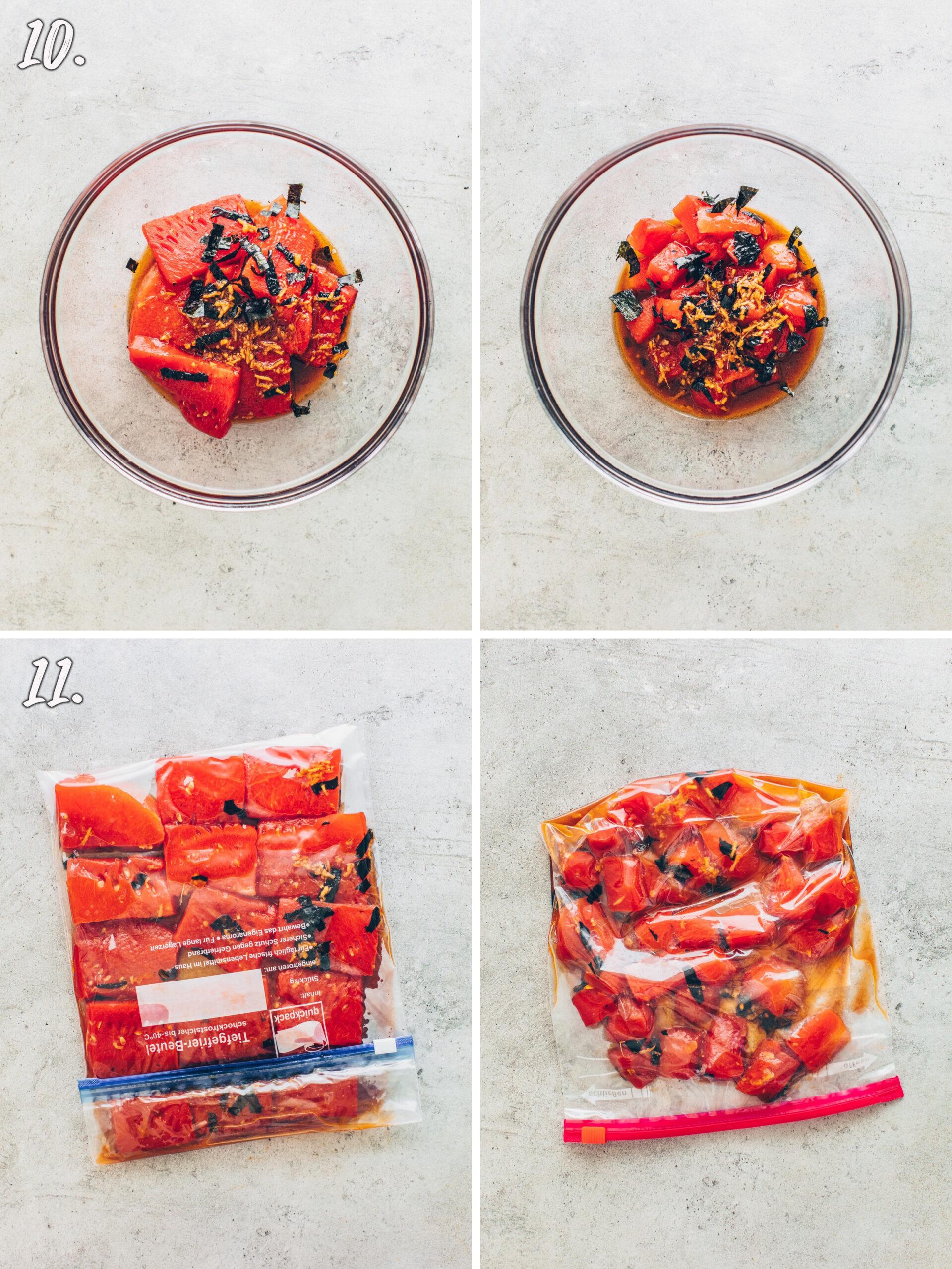 How to make Watermelon Tuna (Vegan Sushi)